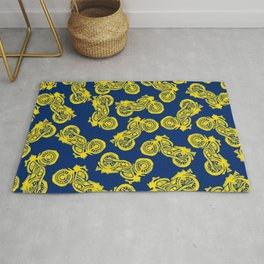 Motorcycles Linocut Yellow Gold Navy Blue Rug