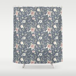Vintage Blue Floral Pattern Shower Curtain