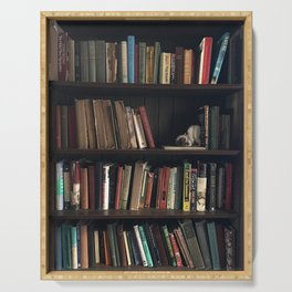 The Bookshelf in the Library, portrait, vibrant Serving Tray