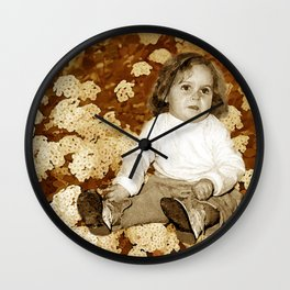 Vintage Little Girl and Flowers Wall Clock
