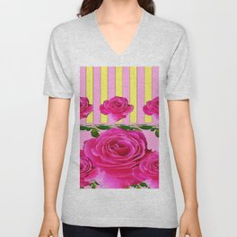 CERISE PINK SPRING  ROSE FLOWERS YELLOW STRIPES  PATTERN Unisex V-Neck