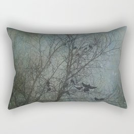 Blackbird Convention on a Snowy Day Rectangular Pillow