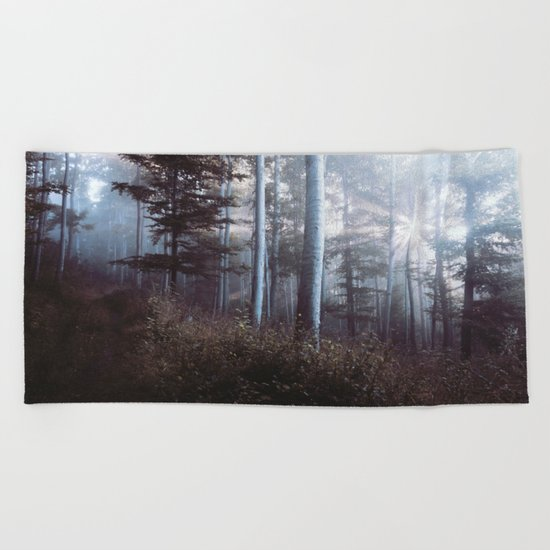 Forest Trees Sunrise Beach Towel
