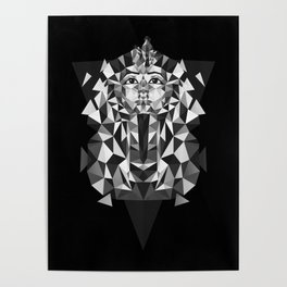 Black and White Tutankhamun - Pharaoh's Mask Poster