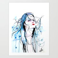 agnes cecile Art Prints featuring Agnes Cecile inspired painting  by SOLMONTASER