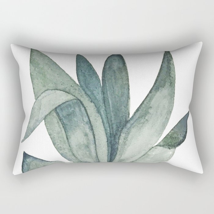 Watercolor plant with blues and greens Rectangular Pillow