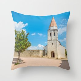 Square of the Glagolitic Monks with Church of St Francis, Town of Krk on the island of Krk, Croatia Throw Pillow