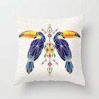 toucan Throw Pillows featuring toucan by Manoou