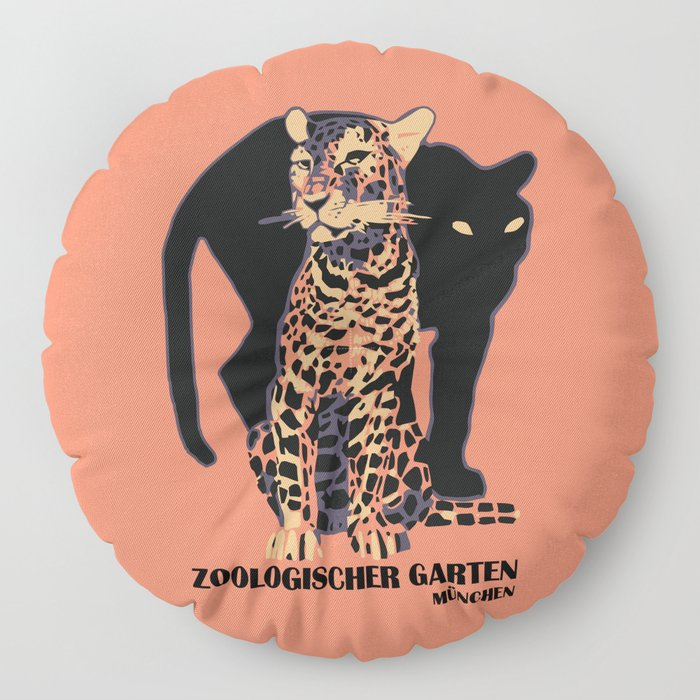 Retro vintage Munich Zoo big cats Floor Pillow