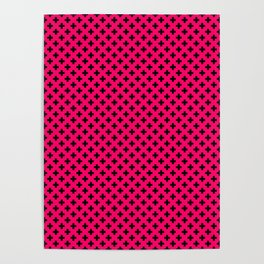Small Black Crosses on Hot Neon Pink Poster