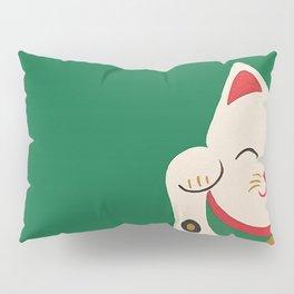 Green Lucky Cat Maneki Neko Pillow Sham