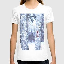 Red Bird House in Winter White Scene #decor #society6 #buyart T-shirt