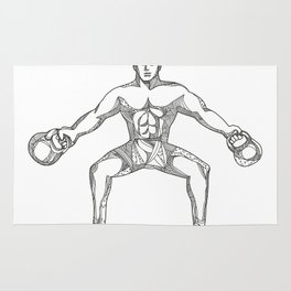 Fitness Athlete Lifting Kettlebell Doodle Art Rug