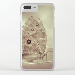 Patterned Wings Butterfly Over Leave Clear iPhone Case