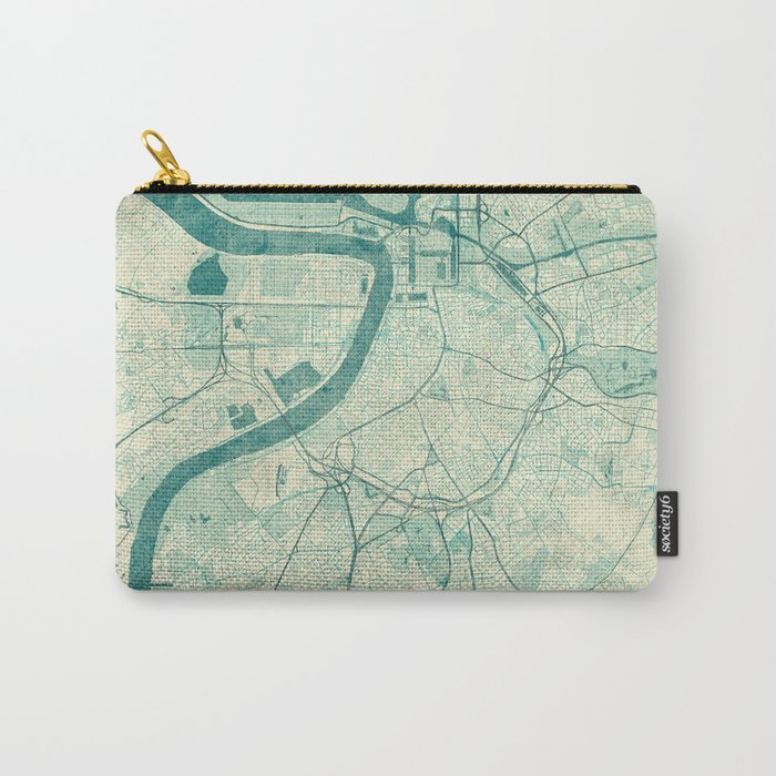 Antwerp Map Blue Vintage Carry-All Pouch