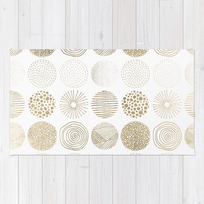 elegant faux gold abstract circles patterns rug by pink water society6