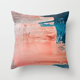 Energy: a vibrant minimal abstract piece in pink and blue by Alyssa Hamilton Art Throw Pillow