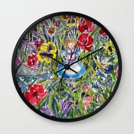 Alice in Wonderland & The Garden of Live Flowers Wall Clock
