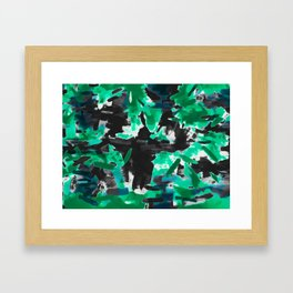 psychedelic vintage camouflage painting texture abstract in green and black Framed Art Print
