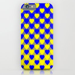 Zigzag of iridescent blue hearts staggered on a yellow background. iPhone Case