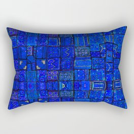 N99 - Calm Blue Traditional Moroccan Geometric Shapes.  Rectangular Pillow