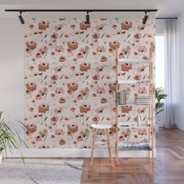 Farmhouse floral - pink Wall Mural