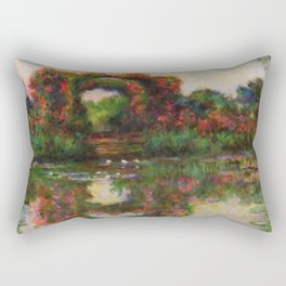 "Claude Monet ""Rose Arches at Giverny"" Rectangular Pillow"