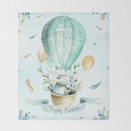 Cute Easter Bunny Hot Balloon Throw Blanket