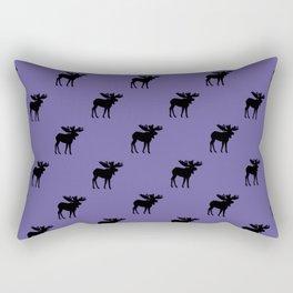 Bull Moose Silhouette - Black on Ultra Violet Rectangular Pillow