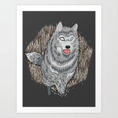Husky in Winter Art Print