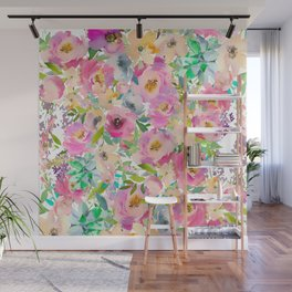 Elegant blush pink lavender green watercolor floral Wall Mural