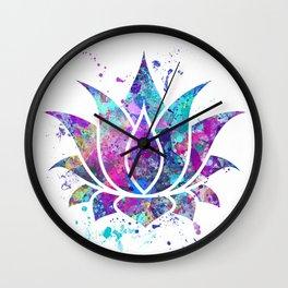 Lotus Flower Watercolor Print Wall Art Wedding Gift Zen decor Wall Clock