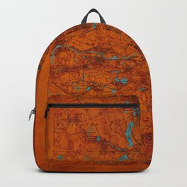 Boston 1893 old map, blue and orange artwork, cartography Backpack