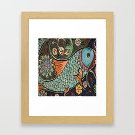bohemian folk art orange aqua blue japanese good luck koi fish Framed Art Print