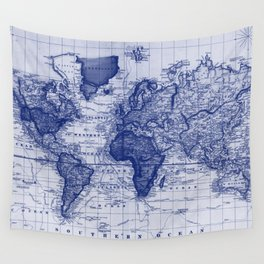 Vintage Map of The World (1833) White & Blue Wall Tapestry