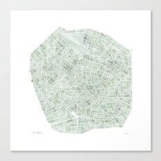 Milan Italy watercolor map Canvas Print