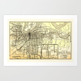 Kansas City Railway and Light Co. System Map 1911 Art Print