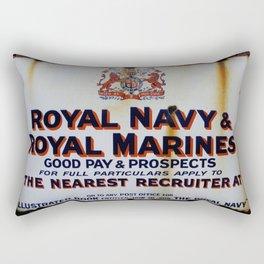 Royal Navy & Royal Marines Vintage Advert Rectangular Pillow