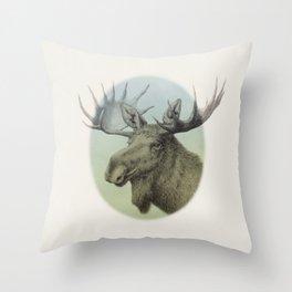 Moose head elk Throw Pillow