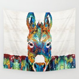 Colorful Donkey Art - Mr. Personality - By Sharon Cummings Wall Tapestry