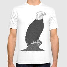 American Bald Eagle B/W MEDIUM White Mens Fitted Tee