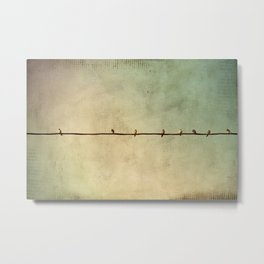 Sparrows on Wire Metal Print