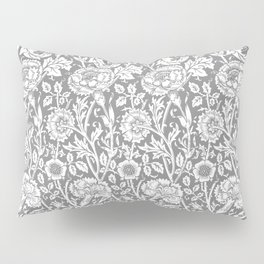 """William Morris Floral Pattern   """"Pink and Rose"""" in Grey and White   Vintage Flower Patterns   Pillow Sham"""