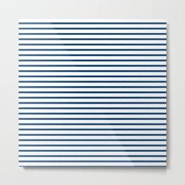 Sailor Stripes Navy & White Metal Print