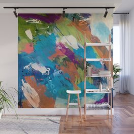 Emma - colorful acrylic and ink abstract pattern with blue, orange, purple and pink Wall Mural