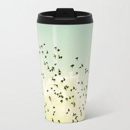 Birds Flying Photography, Birds Fly Sky, Mint Turquoise Yellow Nursery Art Travel Mug