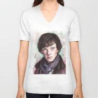 sherlock holmes V-neck T-shirts featuring Sherlock Holmes by Olechka