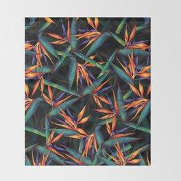 Tropical Leaf Pattern Throw Blanket