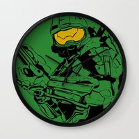 master chief Wall Clocks featuring Halo Master Chief by Ashley Rhodes