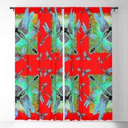 RED MODERN ART BLUE DRAGONFLIES MORNING GLORY Blackout Curtain